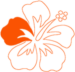 Personalized Hawaiian Vacations and Tours flower logo with orange border