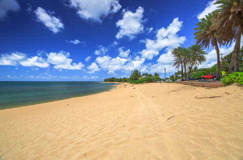 scenic landscape image of sun and sandy beach in Hawaii