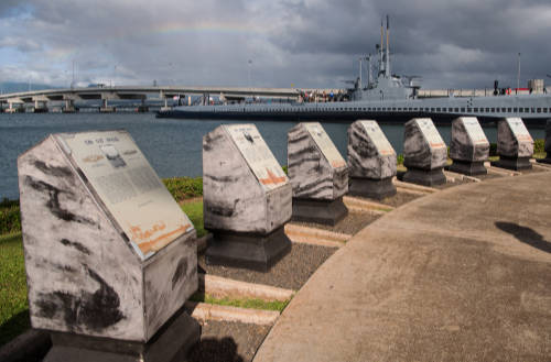 image of memorial plaques at Pearl Harbor